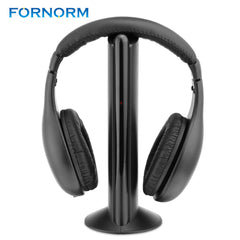 FORNORM 5 in 1 Wireless Cordless Headphone Headset Earphone For PC TV Radio Wireless Headphone Gaming Headphone