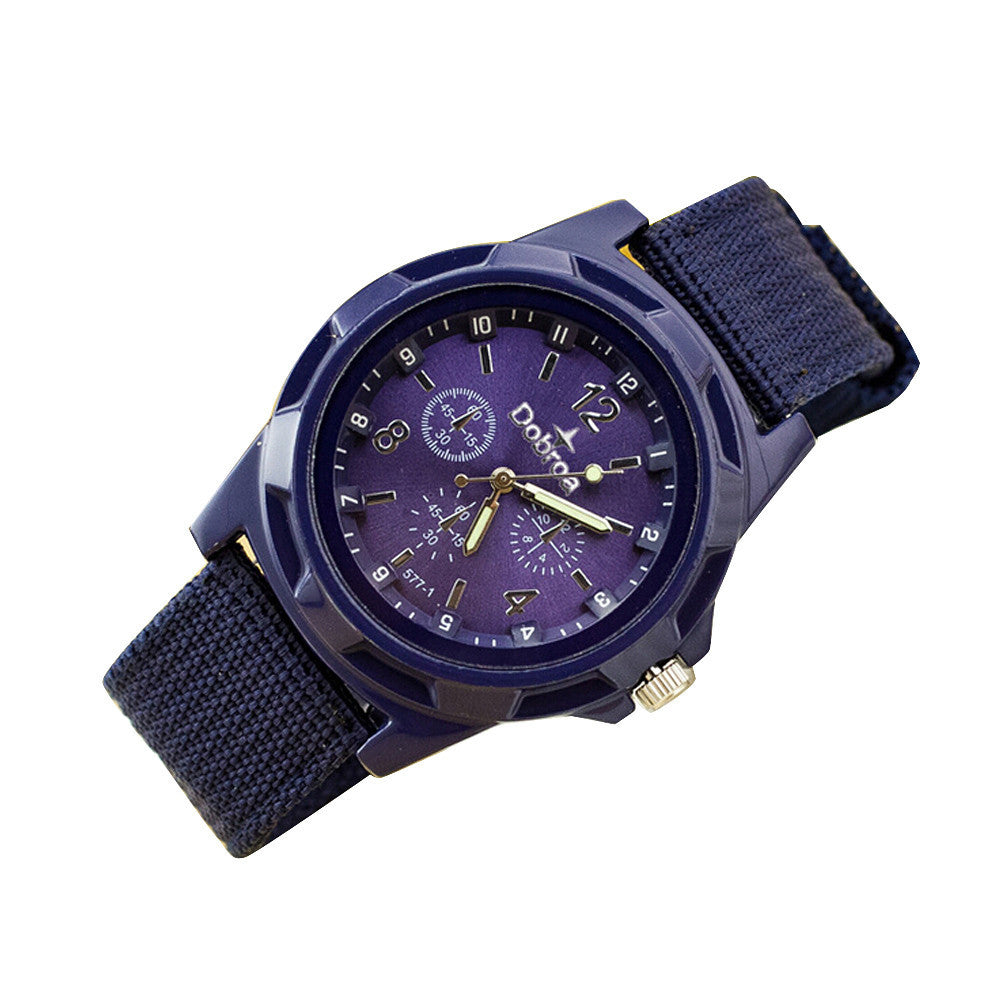 Men's Fashion Sport Braided Canvas Belt Watch Analog Wrist Watch