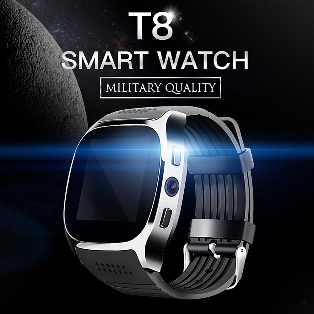 FORNORM T8 Bluetooth Smart Watch Support SIM TF card 2.0MP Camery  Sleep Monitor Message Notifier For Android