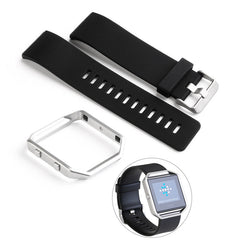 UKCOCO Classic Watch Band Wrist Strap with Safety Watch Buckle & Metal Frame for Fitbit Blaze Smart Fitness Watch