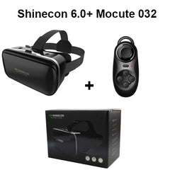 Shinecon 6.0 VR Virtual Reality 3D Glasses Headset Helmet for 4 6 inch Smartphone VR Google Cardboard BOX with Gamepad Joystick