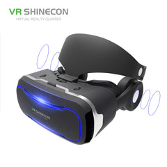 VR SHINECON VR Glasses With Headphones 3D Virtual Reality Glasses Headset Pro Cardboard Helmet BOX For 4.7-6 inch Smart Phone