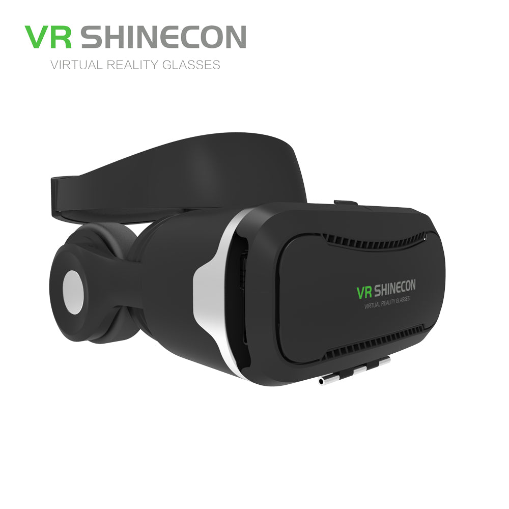 VR SHINECON 3D Virtual Reality Glasses Headset With Headphones Pro VR Glasses Cardboard Helmet BOX For 4.7-6 inch Smart Phone