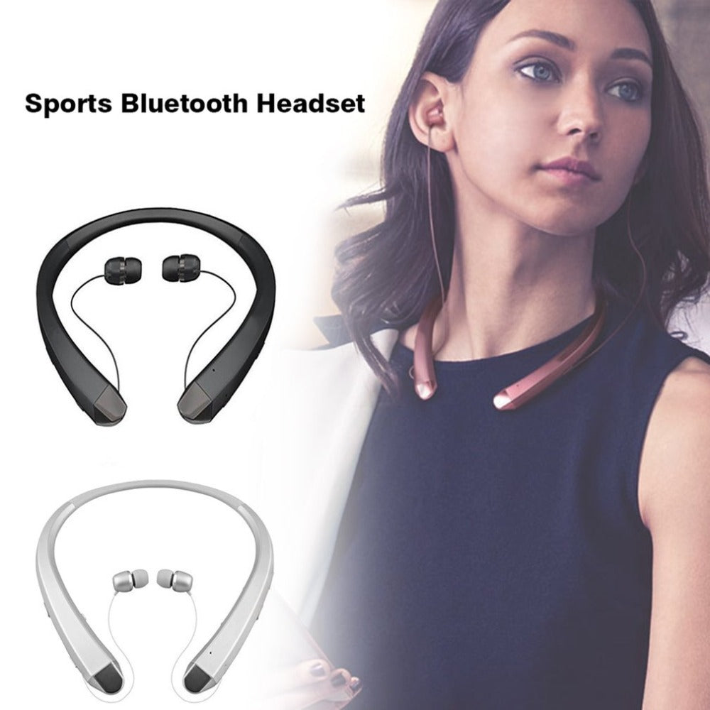 Wireless Bluetooth Headset with Retractable Earbuds Dual-Mic Sport Stereo Headphone Noise Reduction Earphone Hot Drop Shipping