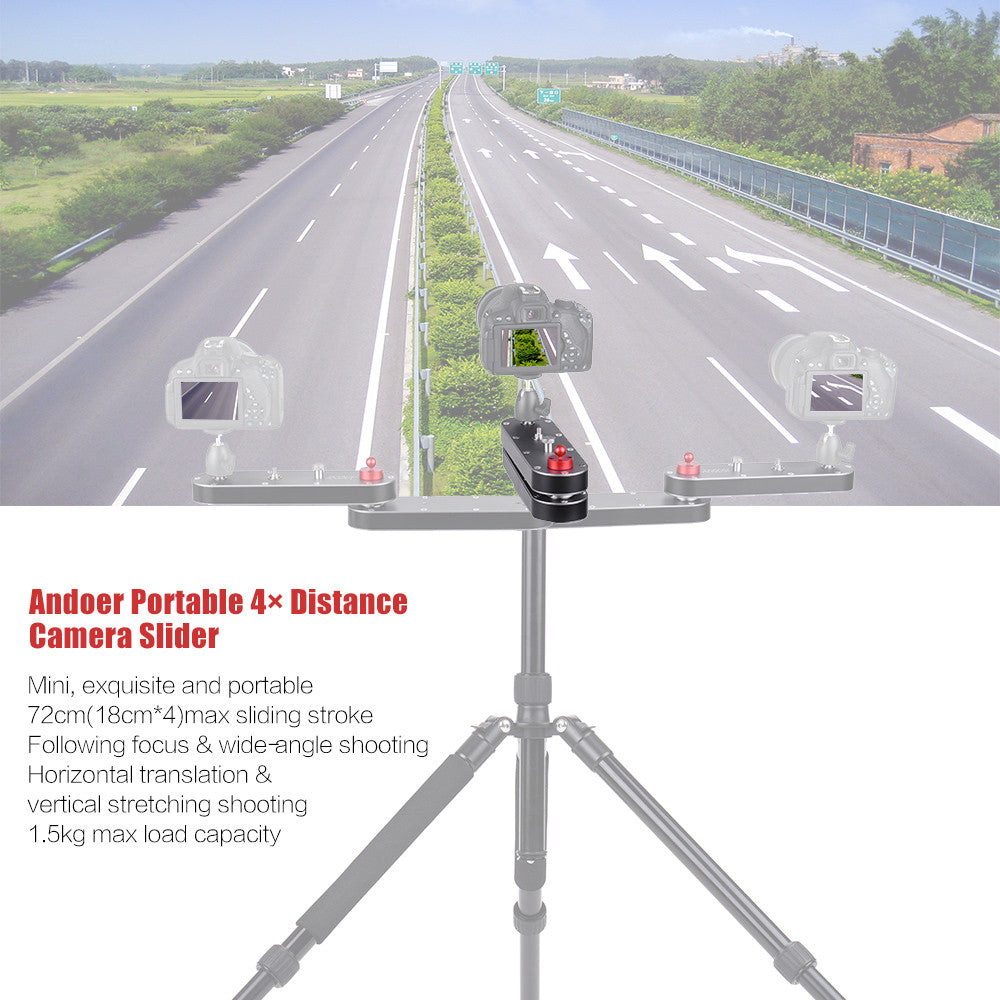 Andoer GT-V70 Portable Camera Slider with Panning and Linear Motion Extends Up to 4× Distance for GoPro Action Cameras / Smartphone / DSLR / ILDC Cameras' Video Recording