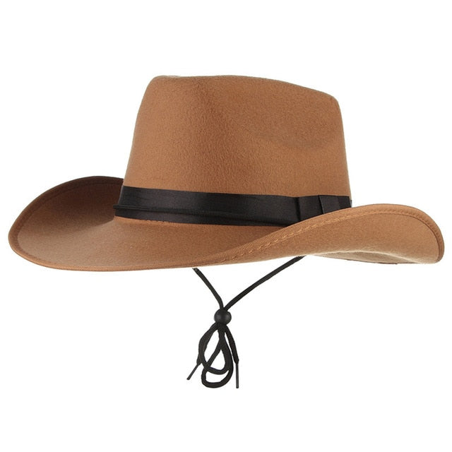 bc1804077 4 Colors Vintage Western Cowboy Hats For Men Wide Brim Sun Visor Cap  Sombreros Autumn Winter Felt Hat Male Cowboy Caps