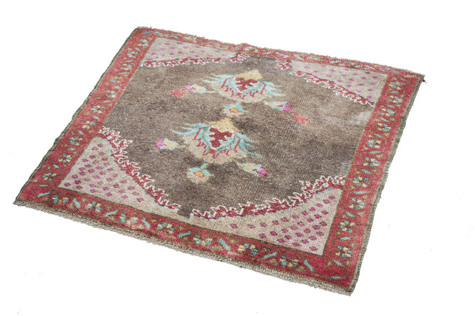 3x3 Brown Vintage Turkish Area Rug