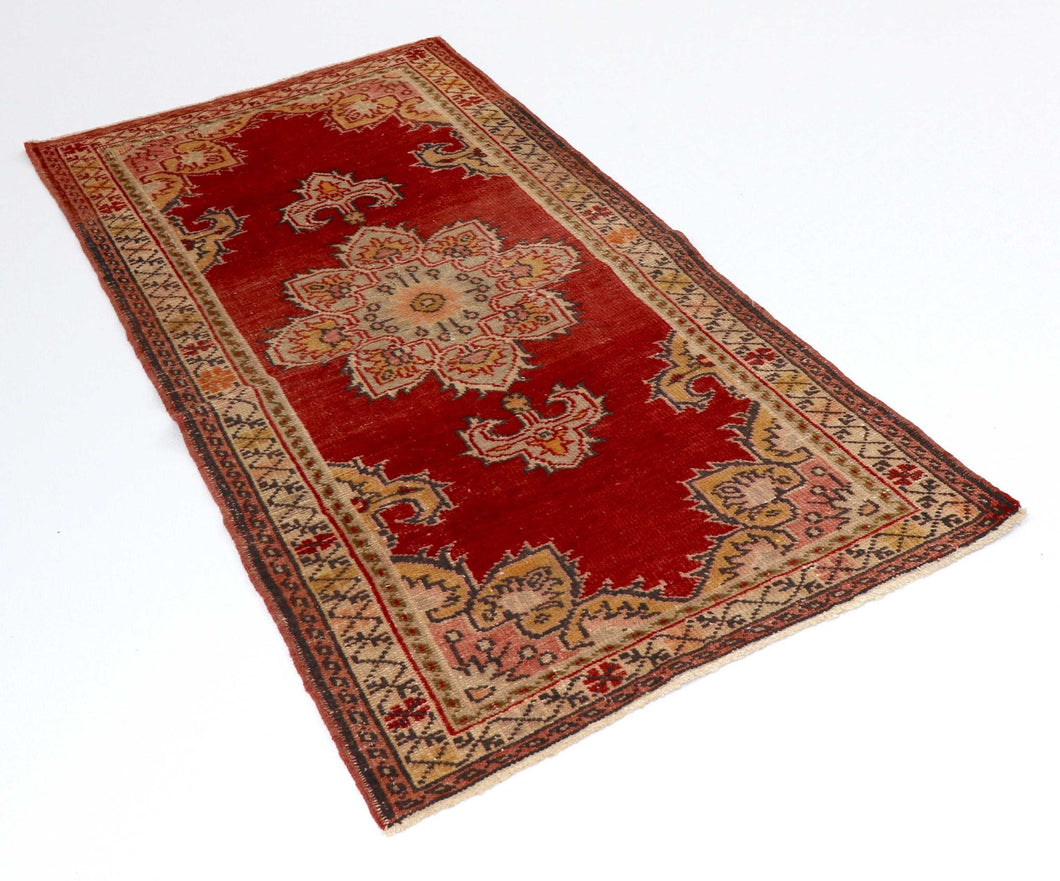 3x5 Red Vintage Turkish Area Rug-turkish_rugs-oriental_rugs-kilim_rugs-oushak_rugs