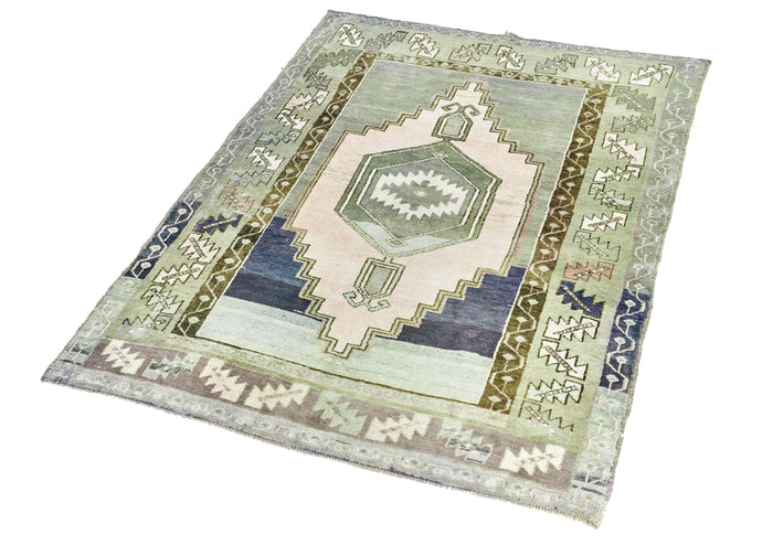 4x5 Green Vintage Turkish Area Rug
