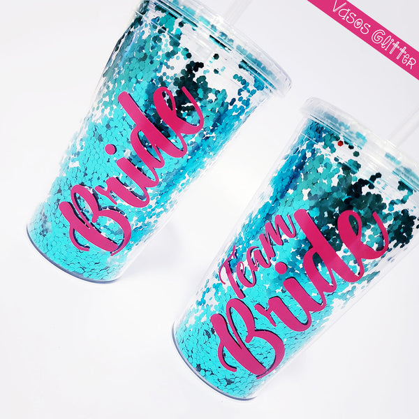 vasos glitter de doble pared personalizados, ideal para despedida de soltera