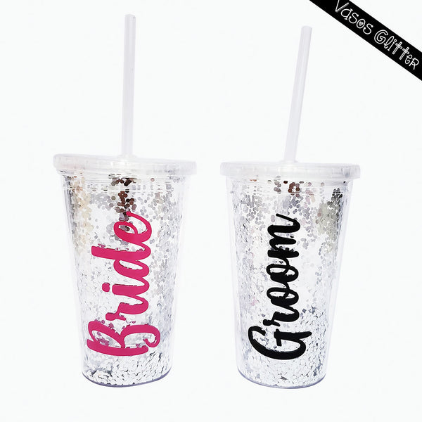 vasos glitter de doble pared con brillantina para bodas