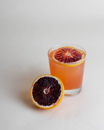 blood orange, elderflower, ginger, CBD honey cocktail