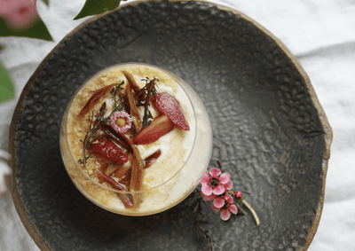 potluck: labneh mousse with orange blossom rhubarb