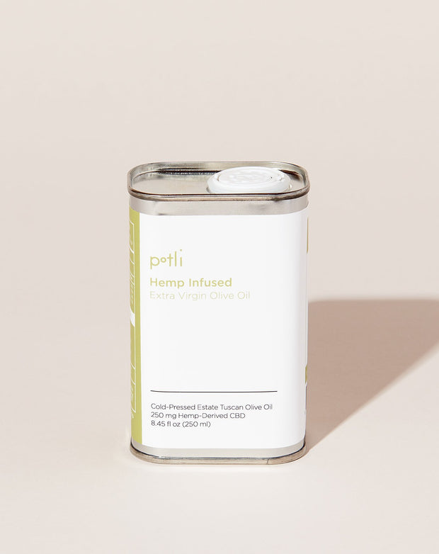 Potli's hemp infused olive oil, which comes in a 250ml metal tin
