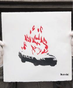Graffik Gallery Bambi - LOCKDOWN EDITIONS 'PROTEST PIECE' - 'WHEELS ON FIRE