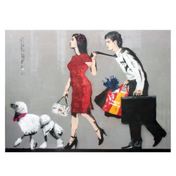 Graffik Gallery Loretto - Couple with Shopping Bags & Dog