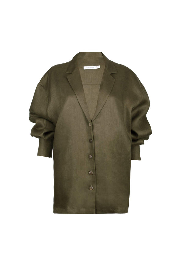 The Linen Button-down in Olive