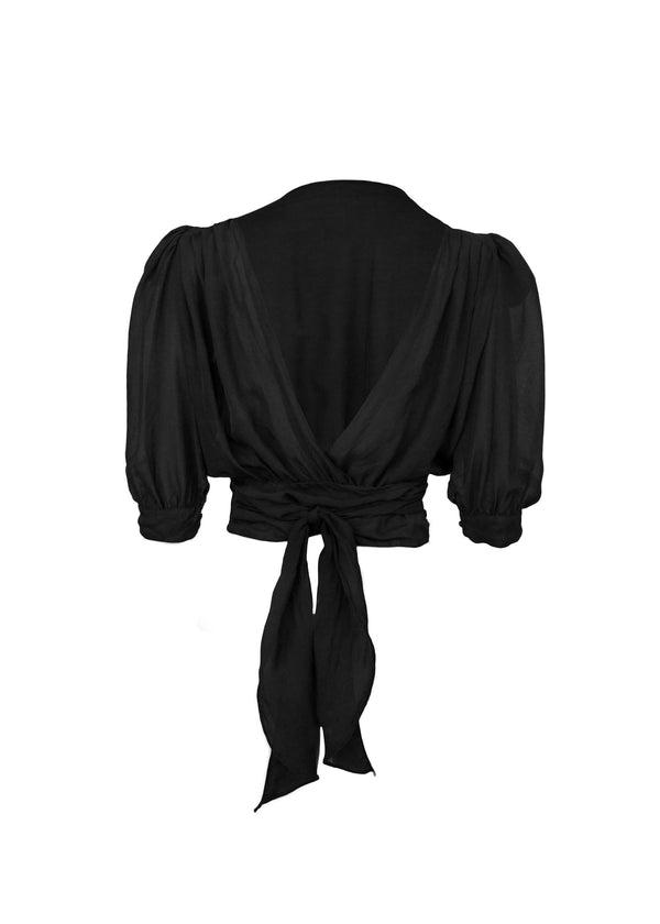 The Wrap Blouse in Onyx
