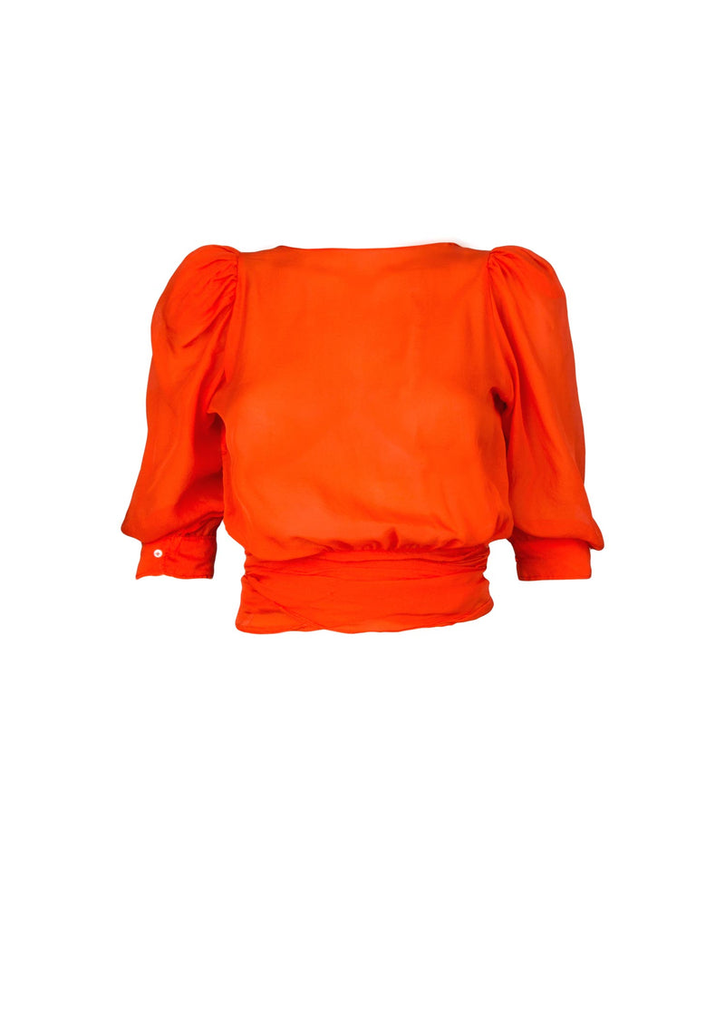 The Wrap Blouse in Crimson