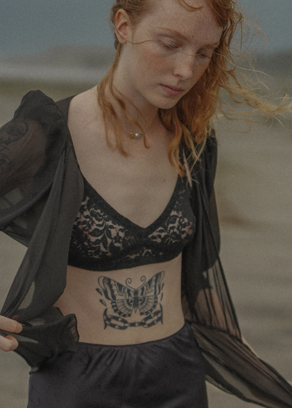 The Lace Bralette Set of Two in Onyx