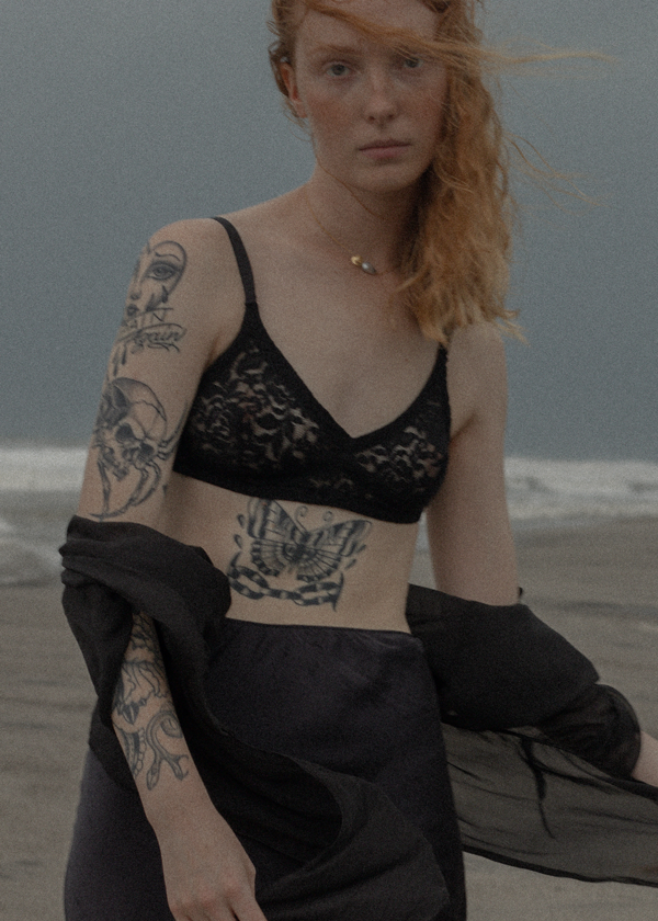 The Lace Bralette Set of Two in Onyx + Crimson
