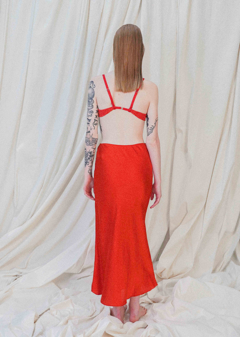The Silk Midi in Crimson
