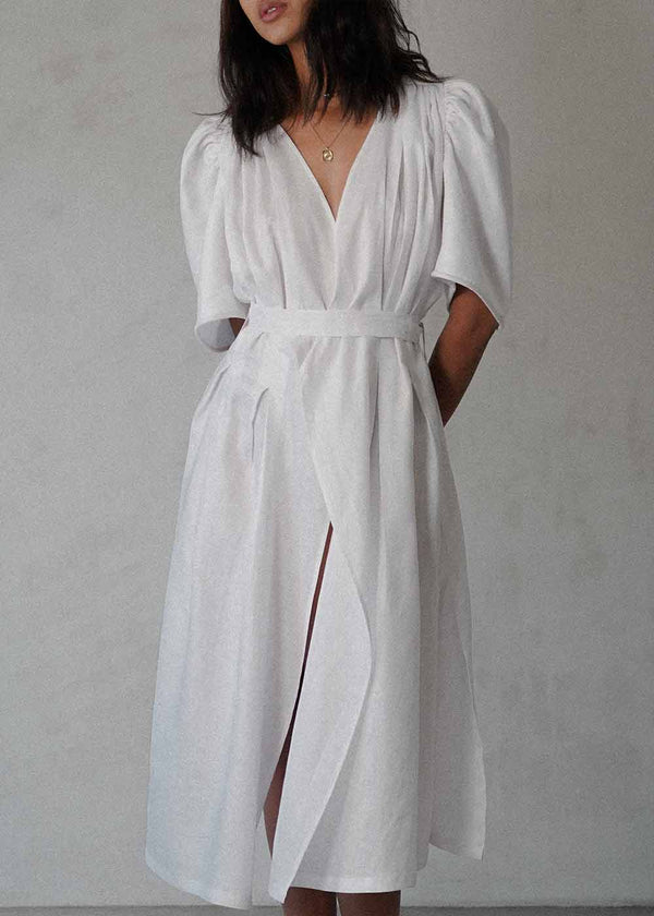 The Tie-Waist Dress in White