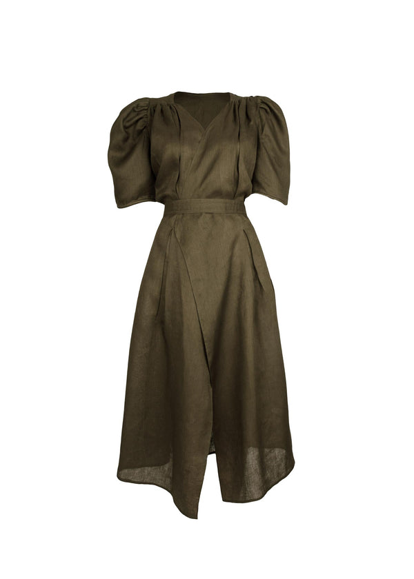 The Tie-Waist Dress in Olive