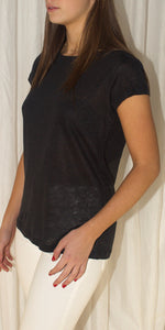 Bella Crew Neck Linen T-Shirt in Black