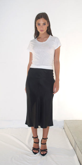 Lucy Silk Slip Skirt in Black