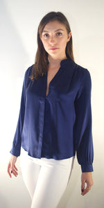 Eugenie Silk Shirt in Navy