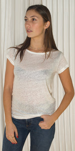 Bella Crew Neck Linen T-Shirt in White