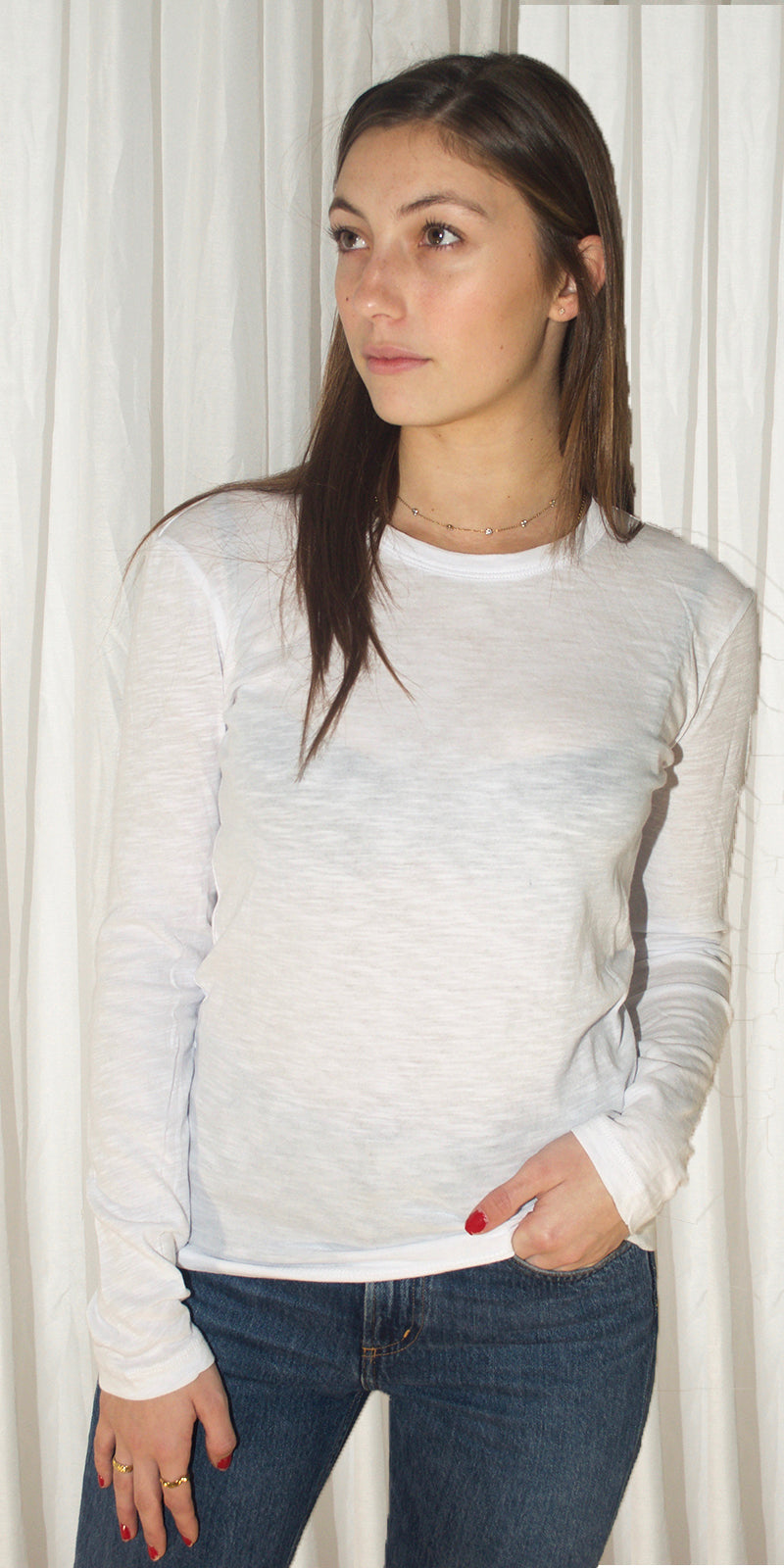 Kendal Long Sleeve T-Shirt in White