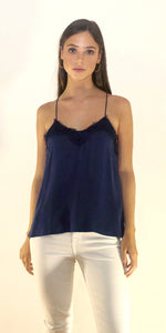 Alessandra Silk Lace Camisole in Navy