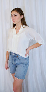 Adele Silk Blouse in Antique White