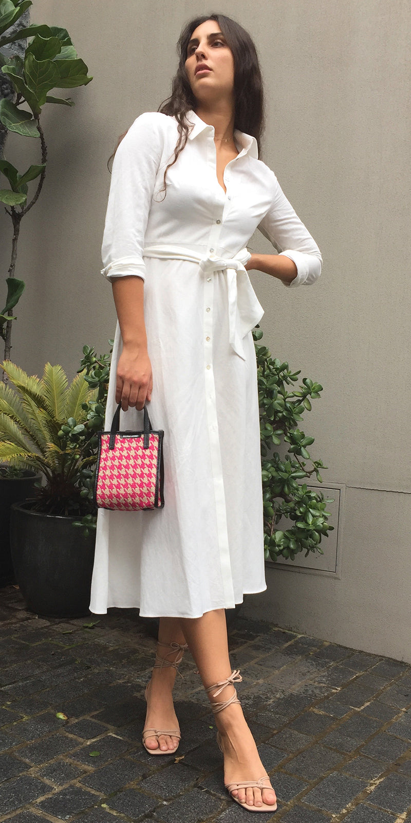 ISA Shirt Dress in White