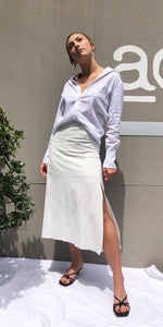 India Linen Midi Skirt in White