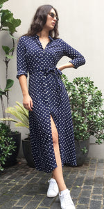 ISA Shirt Dress in Navy Polka Dot