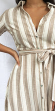ISA Shirt Dress in Tan Stripe
