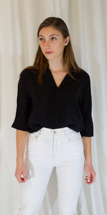 Adele Silk Blouse in Black