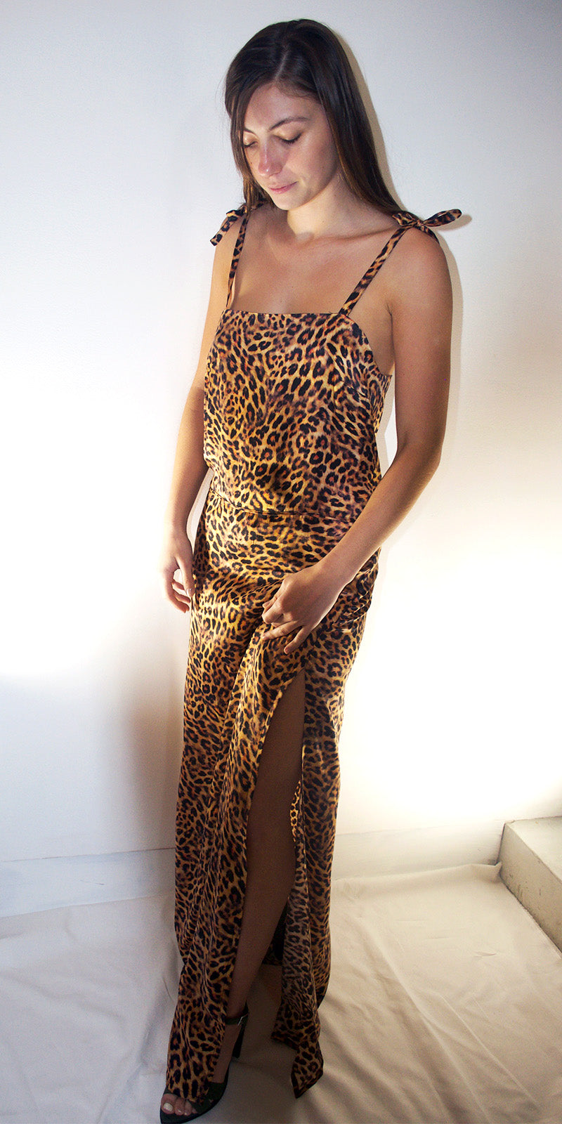 Juliet Maxi Silk Slip Dress in Cheetah