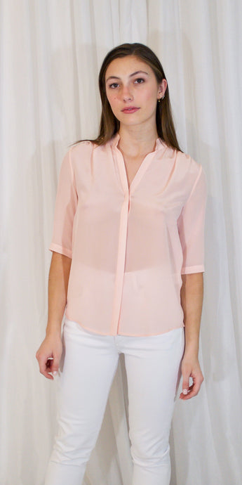 Edie Silk 3/4 Sleeve Shirt in Pink