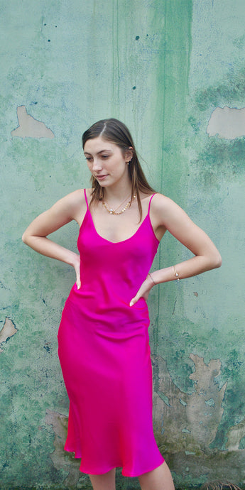 Lucy Silk Slip Dress in Fuschia