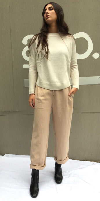 Kate Linen Slouch Pants in Sand