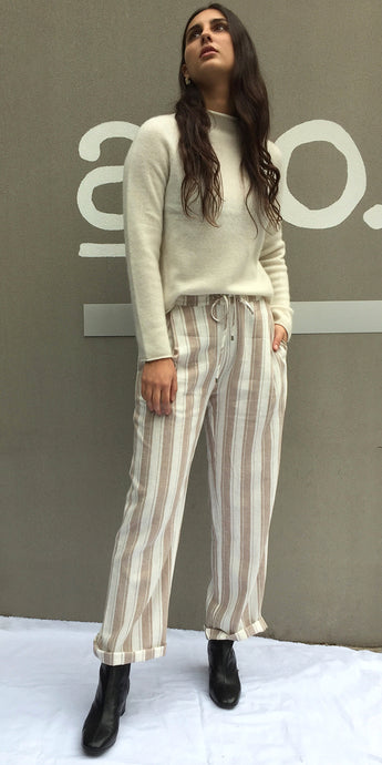 Kate Linen Slouch Pants in Natural Stripe