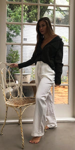 Kate Linen Slouch Pants in White