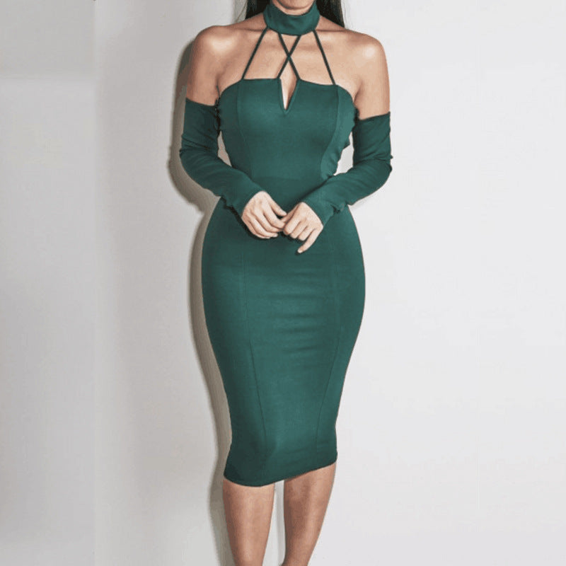 Off Shoulder Knee Length Dress