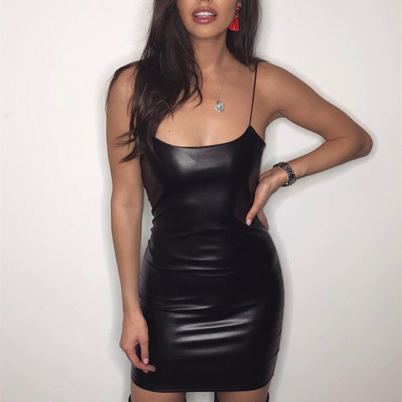 PU Sleeveless Sexy Dress