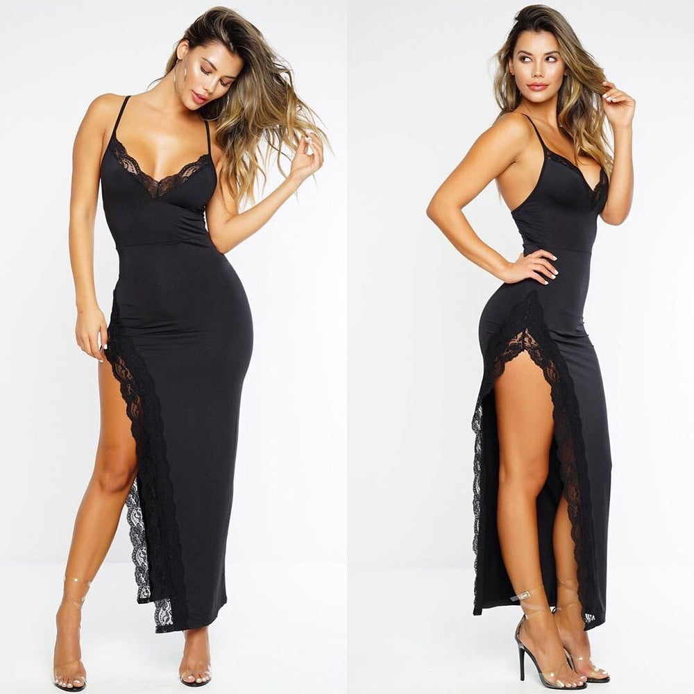 High Split Lace Bodycon Dress