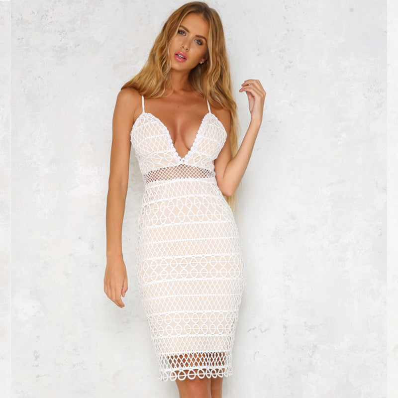 Lace Dress Deep V Neck Bodycon